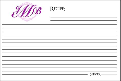 4x6 recipe card template monogram recipe card template 4x6 inches by