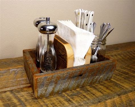 table caddy for restaurant rustic napkin holder and condiment caddy by