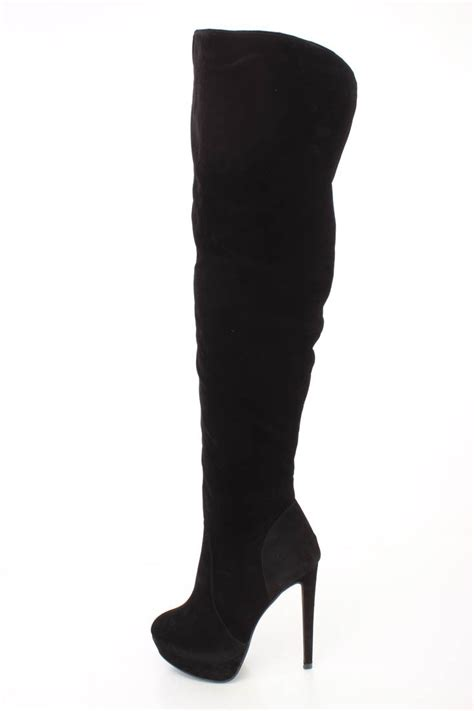 black thigh high platform high heel boots faux suede