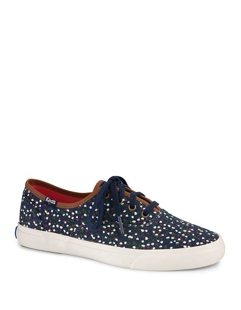 up sneakers lyst keds triumph canvas lace up sneakers in blue