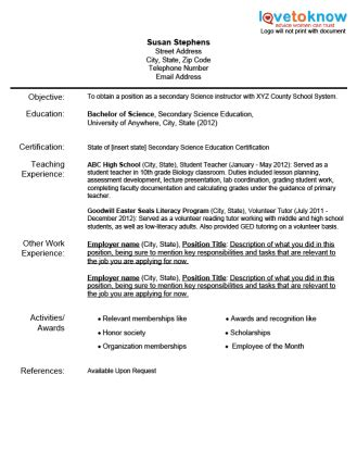 New Teacher Resume Sample by Sample Teacher Resumes