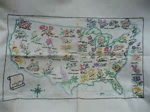 state flowers usa map embroidered usa map state flowers sold on ruby