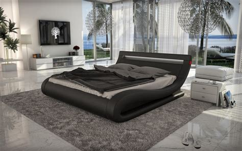 modern euro design italian black leatherette modern bed modrest corsica contemporary black leatherette bed with