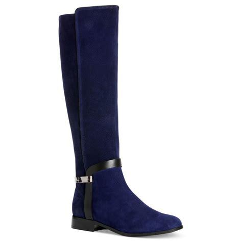 klein boots calvin klein randa boots in blue blue suede lyst