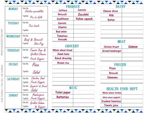 monthly meal planner template listmachinepro com
