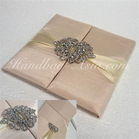 silk wedding invitations india crown brooch embellished dupioni silk pocket folder for wedding cards handbag asia