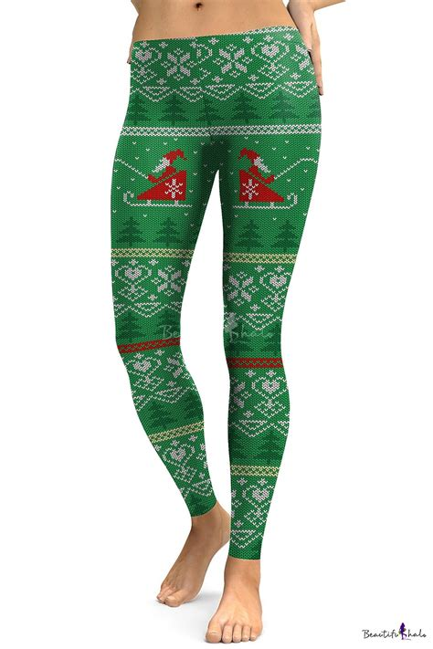 pattern christmas leggings fashion christmas santa claus pattern leisure sports