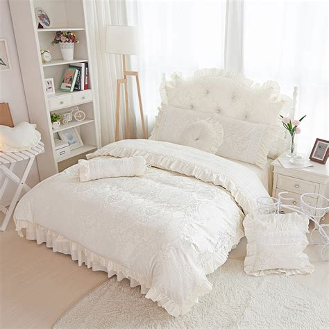 beige ruffle comforter beige jacquard satin bedding sets 4pcs princess lace