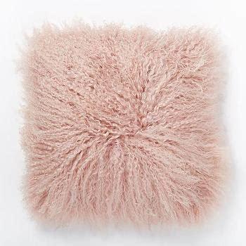 pink mongolian fur bench rosette mongolian pink pillow cover