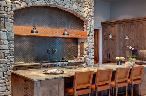 Rustic Kitchen Backsplash by Rustic Kitchen With A Trendy Herringbone Backsplash Decoist