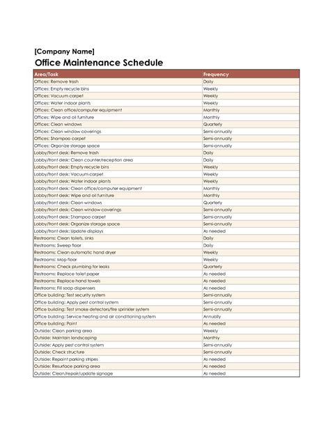 maintenance schedules templates equipment maintenance schedule template excel http www