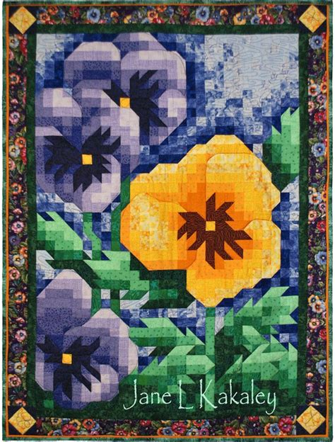 Pansy Quilt by Quilt Pattern Pansy Mosaic Quilt Pattern Immediate Pdf