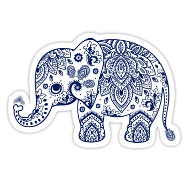 printable stickers transparent quot blue floral elephant illustration quot stickers by artonwear
