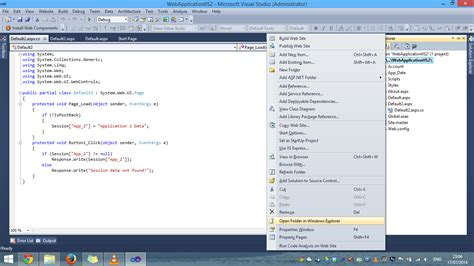 tutorial web application visual studio 2010 asp net not able to see properties tab for web