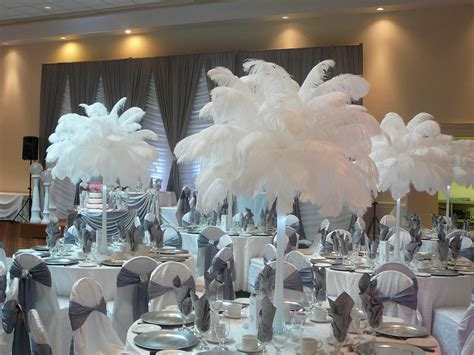 table center pieces flower and event decor ostrich feather centerpieces