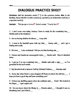 A Place Dialogue Dialogue Tags And End Punctuation Practice By H Shah Teaches Teachers Pay Teachers