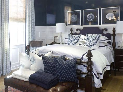 bedroom with blue walls white wainscoting boys