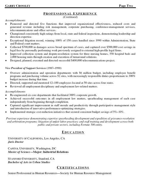 sle cover letter sle resume general counsel
