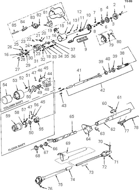 exploded view for the 1989 Chevrolet Pickup Tilt