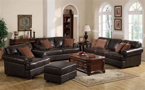 Traditional Brown Leather Sofa Traditional Leather Sofa Set Melange Traditional Leather Fabric Wood Trim Tufted Sofa Set By