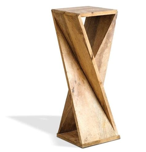 wooden designs one board twisted side table for 6