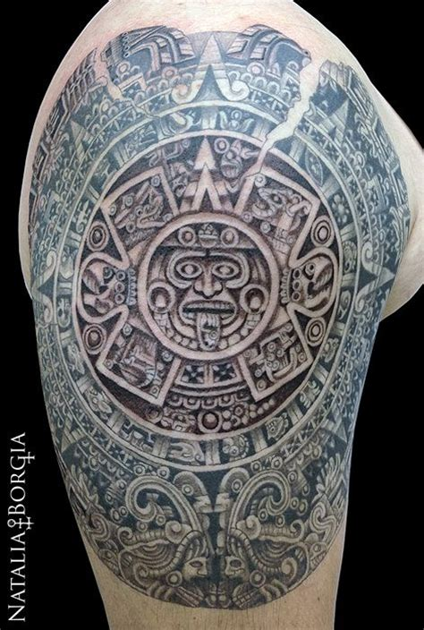 aztec calendar tattoo my tattoo work pinterest