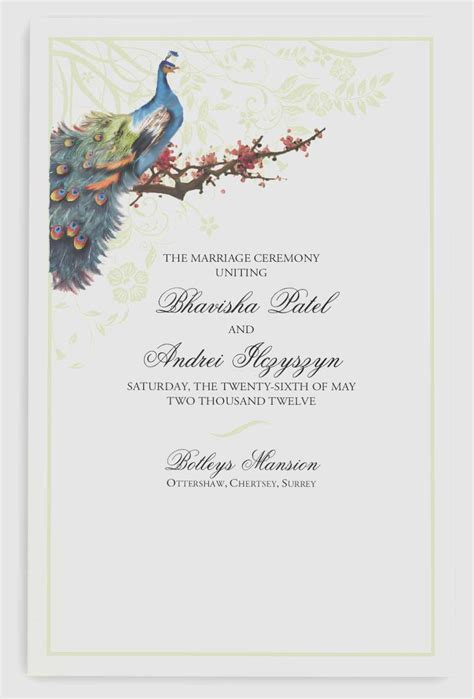 Wedding bulletin cover beautiful peacock in a plum tree