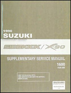 1996 suzuki esteem repair shop manual supplement original 1996 1998 suzuki sidekick x 90 abs repair shop manual supplement original