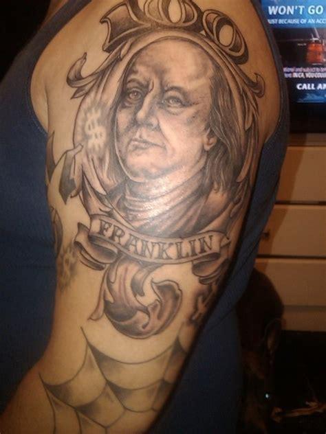 benjamin franklin tattoo black ink shoulder of benjamin franklin