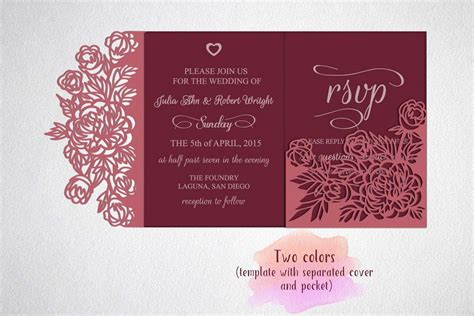 Tri Fold Wedding Invitation Template Sv Design Bundles Tri Fold Wedding Invitation Templates