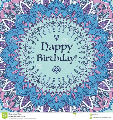 mandala birthday card stock illustration image 68258105