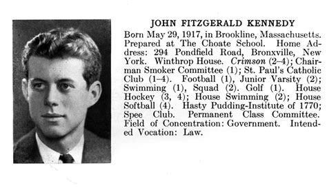 john f kennedy biography john f kennedy s 1940 harvard yearbook entry john f