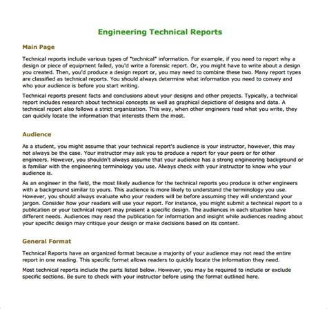 technical report template 16 sle engineering reports pdf word pages sle
