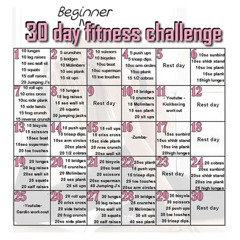 30 day beginner s fitness challenge it s an all