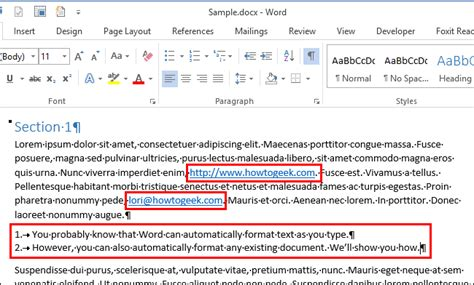 format email hyperlink how to automatically format an existing document in word 2013