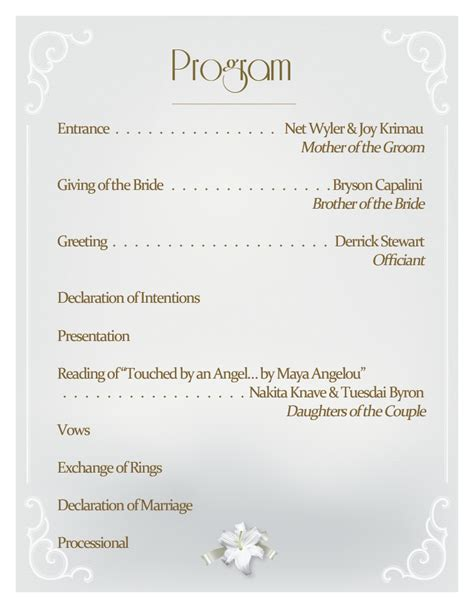 Reception Wedding Program by Utorrentpartners