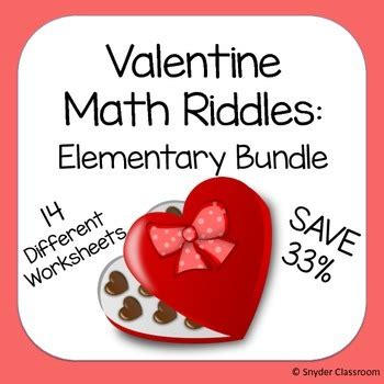valentines day riddles math riddles elementary bundle by snyder