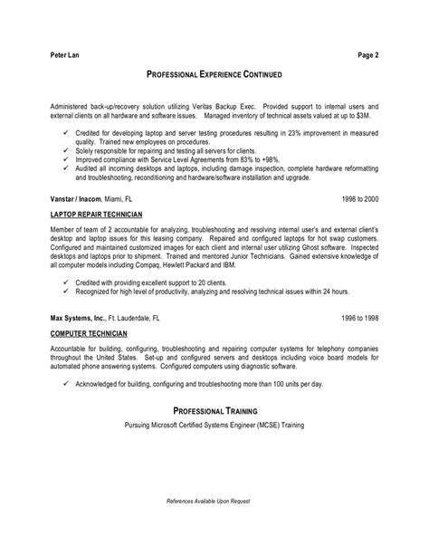 Resume Sle For Computer Technician by School Laboratory Technician Resume Sales Technician