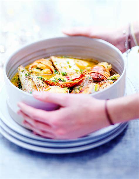 recettes cuisine noel poulet et langouste au vin jaune pour 6 personnes