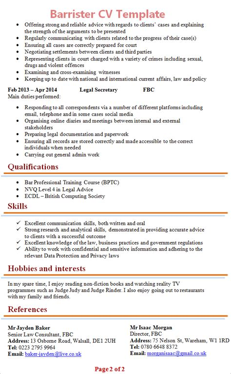 template cv for solicitor barrister cv template 2