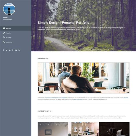 bootstrap themes vertical menu volton is simple personal portfolio template with vertical