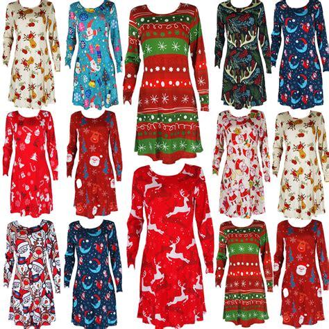 womens christmas xmas flared swing dress tunic santa