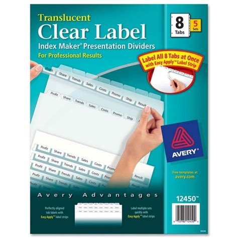 Printer Easy Apply Label Strips For Avery Index Maker Template