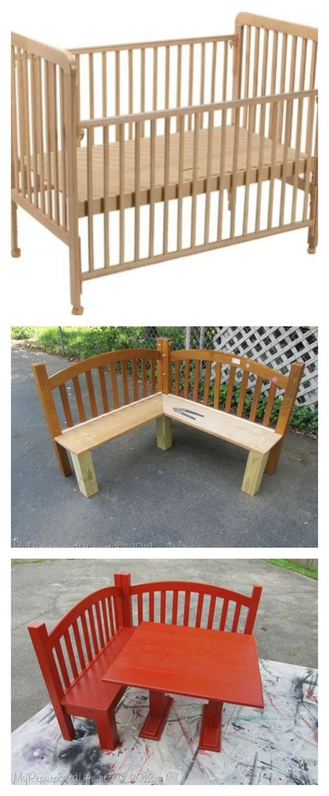 diy kids corner bench  table set upcycled crib idea