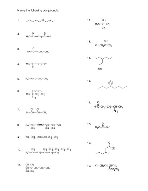Organic Chemistry Worksheet by 15 Best Images Of Naming Compounds Worksheet Key