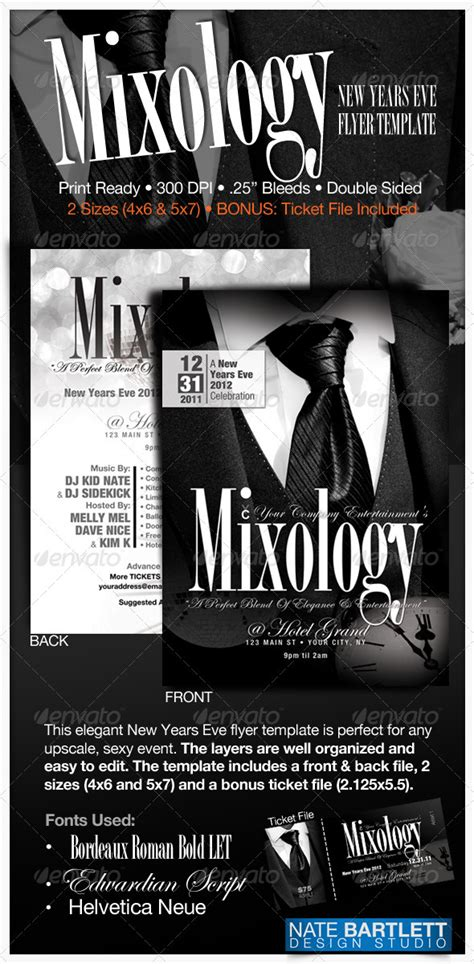 Mixology New Years Eve Flyer By Natedilli Graphicriver New Years Ticket Template