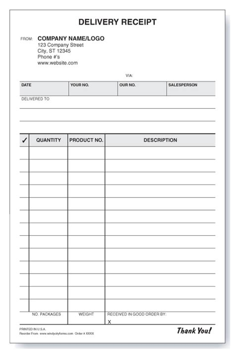 shipping receipt template delivery receipt windy city forms