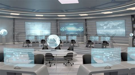 3d Home Plans futuristic interior view of office with holographic screen