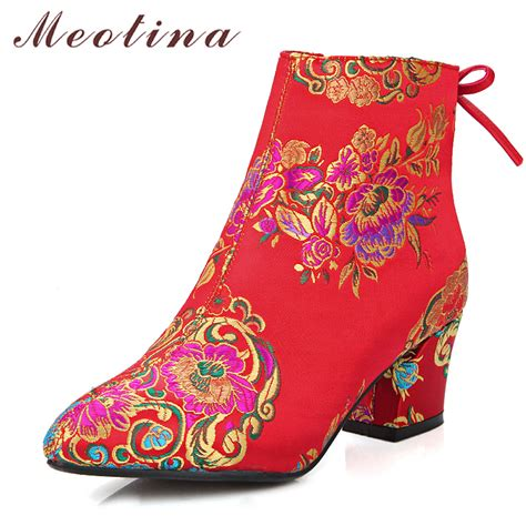 Bow High Heel Ankle Boots meotina ankle boots chunky heels embroider boots