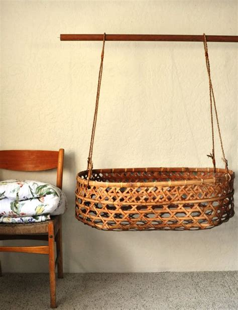 Vintage Rattan Eskimo Style Bassinet Wicker Weave Hanging Baby Crib Basket
